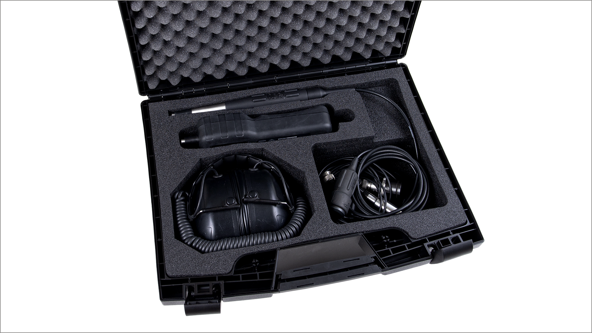 Open carrying case CAS30, including BearingChecker instrument and accessories